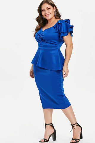 Plus Size Designer Peplum Ruffle Twist Dress