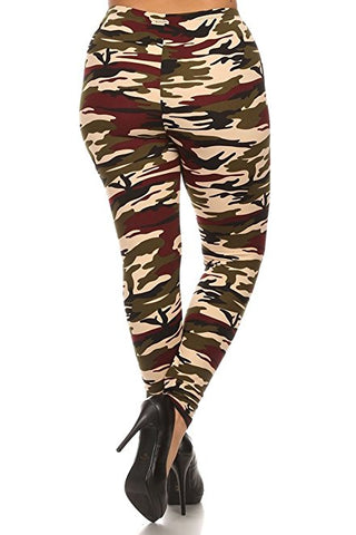 Plus Size Women Soft New Military Print Leggings
