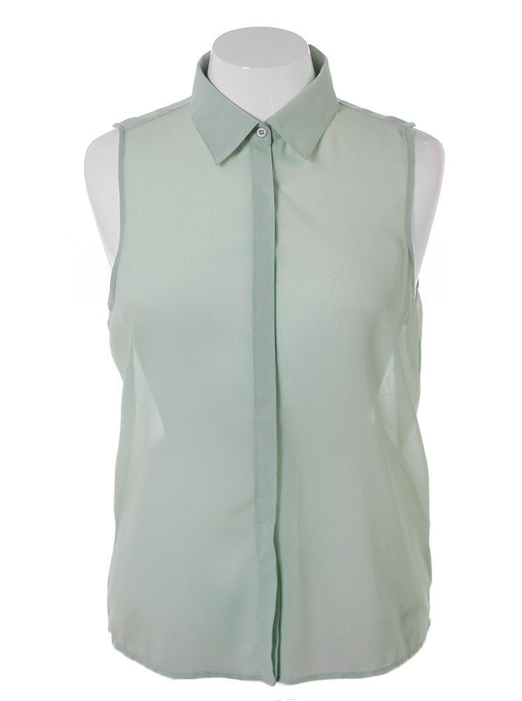Plus Size Sheer Open Back Chain Green Blouse