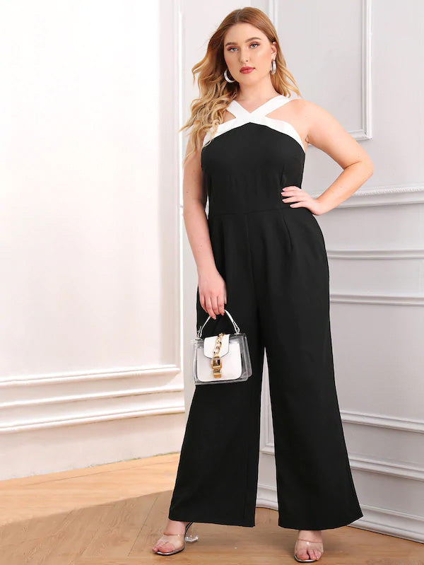 Plus Size Halter Zip Back Wide Leg Jumpsuit