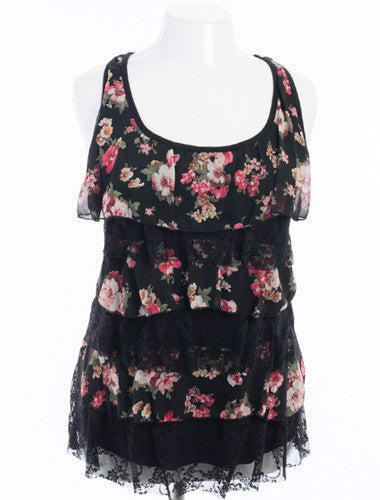 Plus Size Sexy Lace Flower Ruffle Black Tank