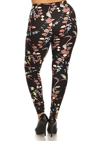 Plus Size Women Soft Vine Beauty Print Leggings