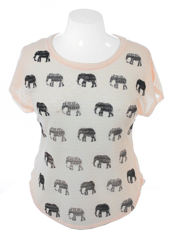 Plus Size See Through Knit Elephant Peach Top