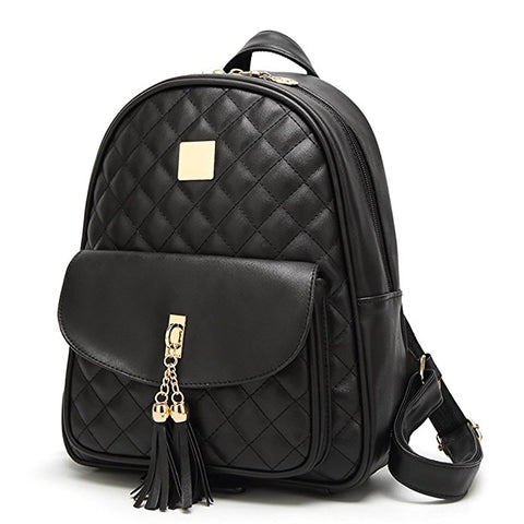Quilted Faux Leather Backpack Wallet Set
