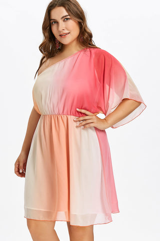 Plus Size One Shoulder Colorful Ombre Dress