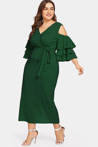 Plus Size Romance Ruffles Cold Shoulder Ruffle Wrap Dress