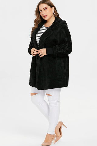 Plus Size Fluffy Faux Fur Hoody Coat Top