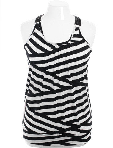Plus Size Knit Studded Zig-Zag Tank Top