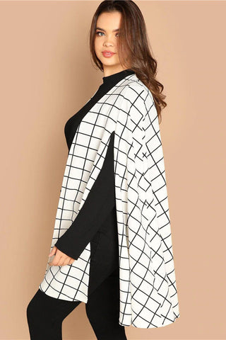 15c8a2b1442 ... Plus Size Chic Designer Cloak Top Sleeve Mod Grid Coat ...
