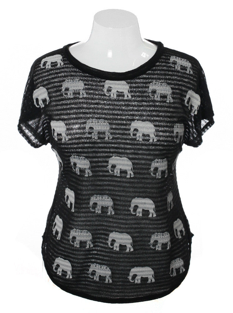 Plus Size See Through Knit Elephant Black Top