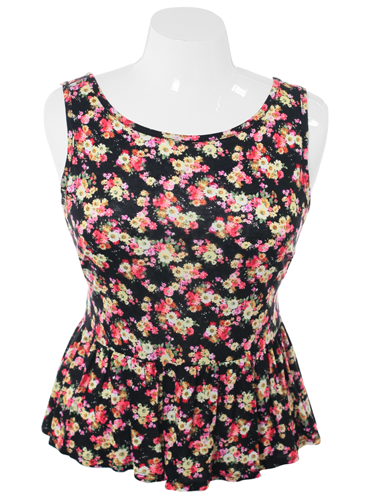 Plus Size Forever Floral Peplum Top