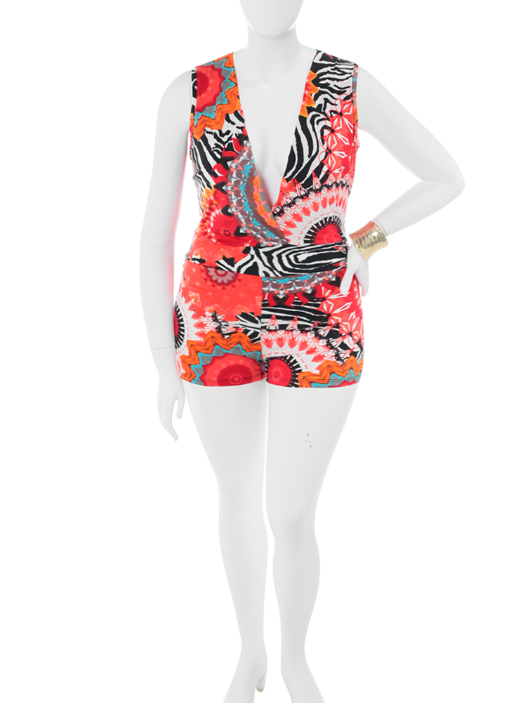Plus Size Psychedelic Bloom Red Romper