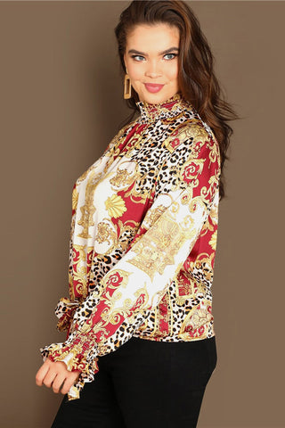 Plus Size Fierce Leopard Designer Print Ruffle Cuff Sleeve Top