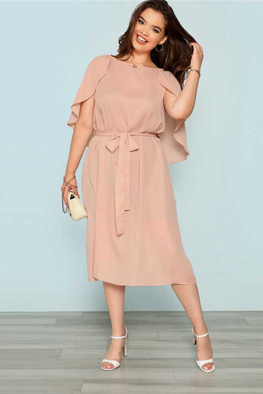 Plus Size Pretty Pink Solid Cloak Sleeve Belted Long Dress