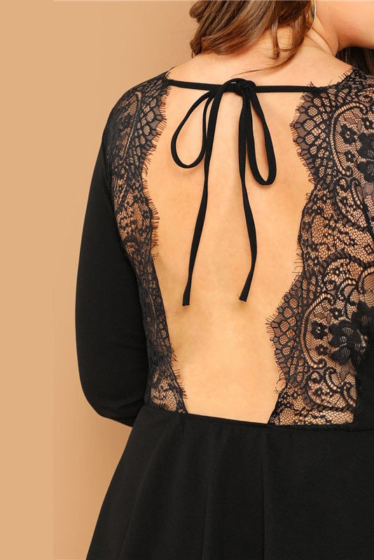 Plus Size Sexy Backless Lace Trim Open Back Top