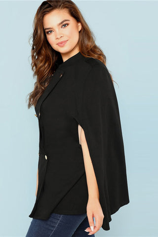 Plus Size Chic Double Button Cape Coat Top