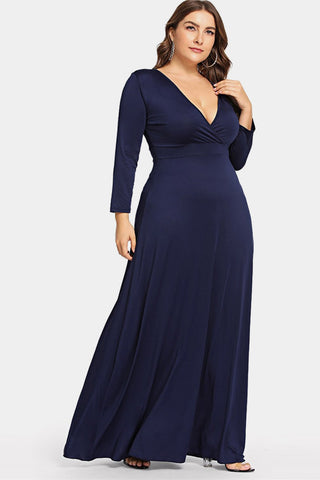 Plus Size Alluring Solid Deep V Neck Maxi Dress