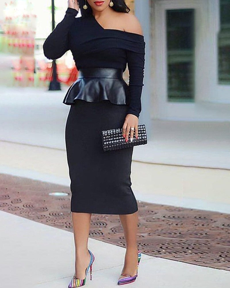 Plus Size Solid Skew Neck Long Sleeve PU Ruffles Insert Dress