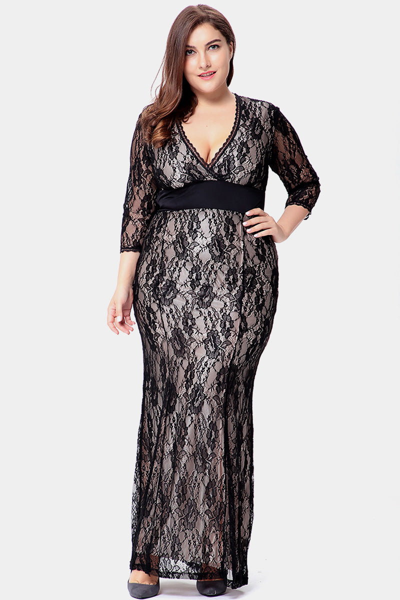 Plus Size Lace Embrace Overlay Under Slip Maxi Dress