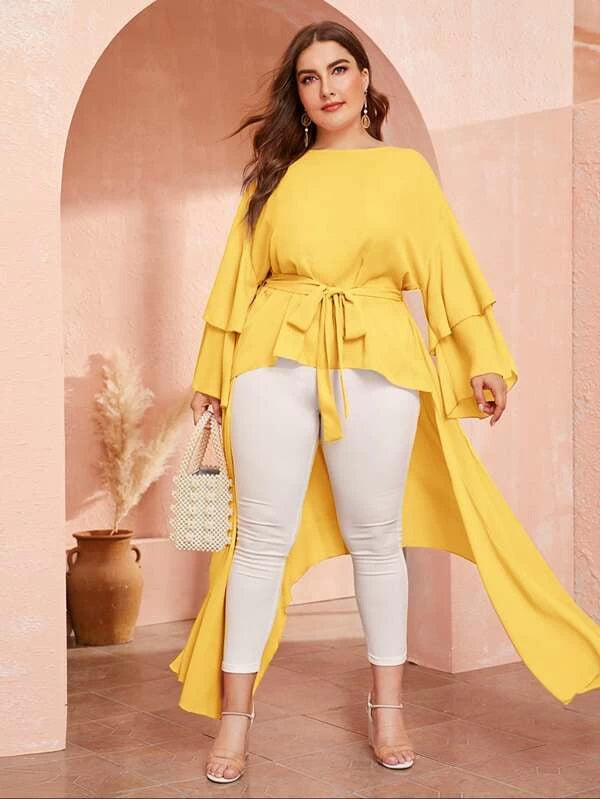 Plus Size Flounce Sleeve High Low Belted Top
