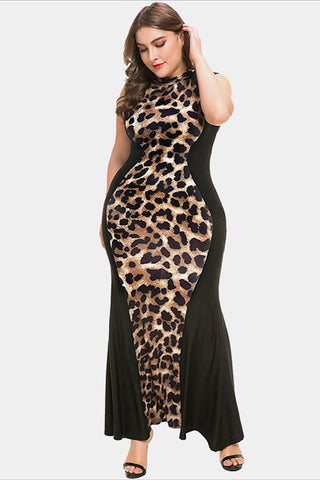 Plus Size Leopard Bodycon Bandage Sleeveless Maxi Dress