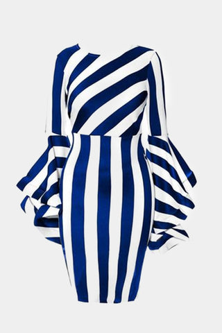 Plus Size Designer Stripe Bell Sleeve Bodycon Dress