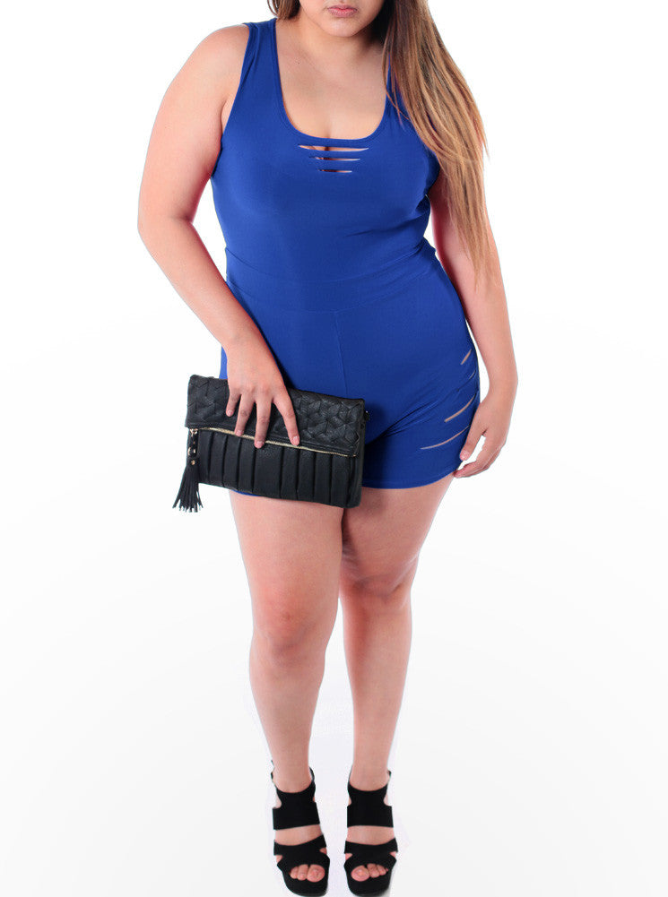Plus Size Sexy Stretchy Blue Romper