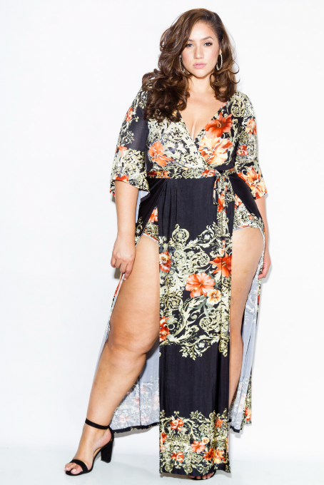 Plus Size Gorgeous Floral Maxi Dress with Double Slits