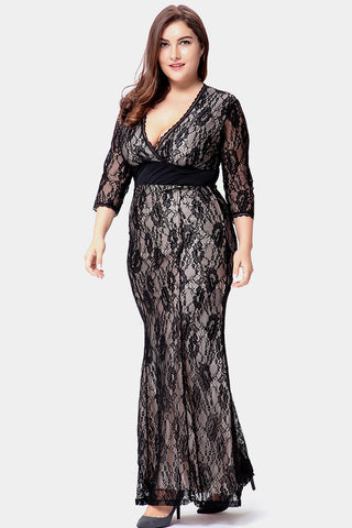 Plus Size Lace Embrace Overlay Under Slip Maxi Dress ... 5d8161d8f