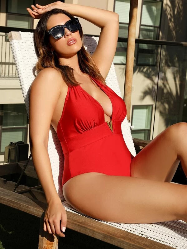 Plus Size Ruched Open Back Halter One Piece Swimsuit