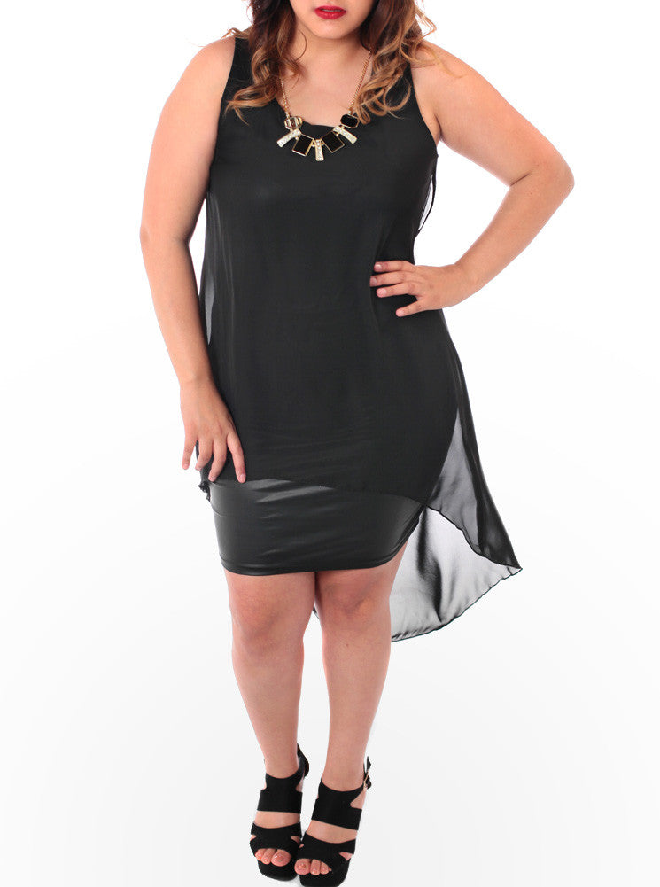 Plus Size Leather Sheer Jewelry Dip Dress