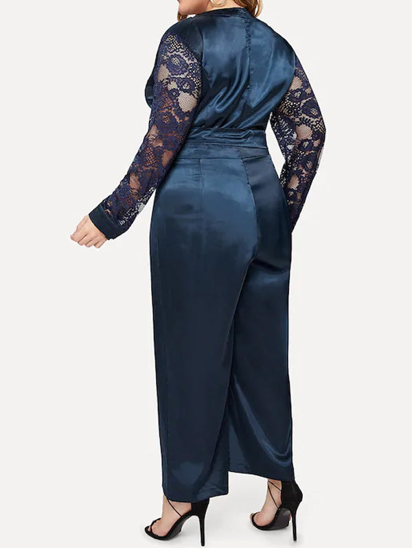Plus Size Lace Sleeve Satin Wrap Jumpsuit