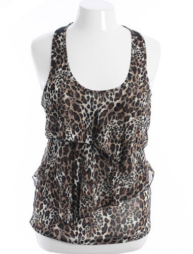 Plus Size Sexy Leopard Print Layered Brown Tank