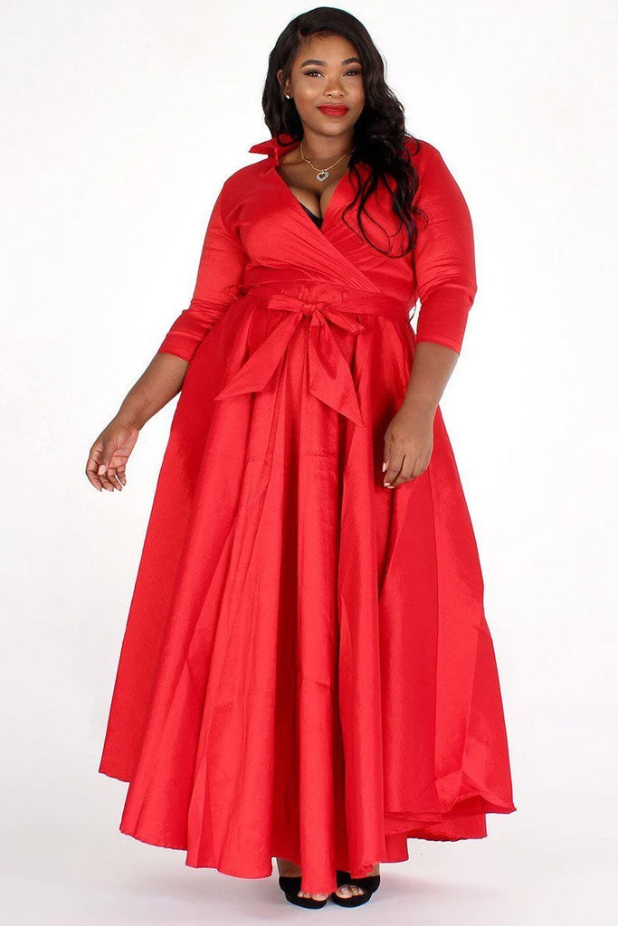 Plus Size Taffeta Wrapped A-Line Maxi Dress
