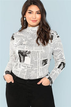 da4b418810f Plus Size Trendy Print Graphic Stand Collar Long Sleeve Top. undefined.  Plussizefix