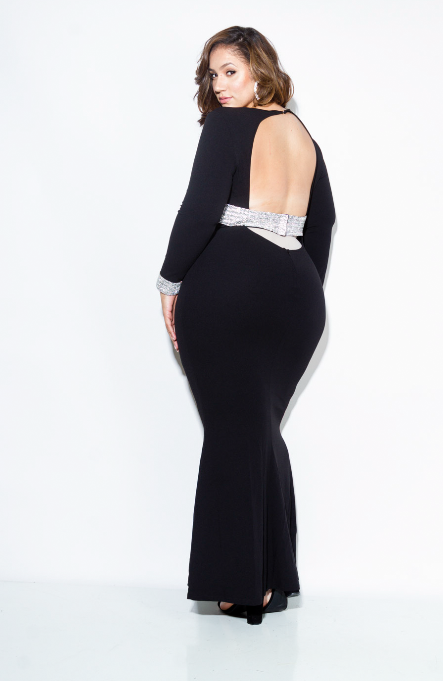 Plus Size Open Back Maxi Dress with Embellished Detail [SALE]