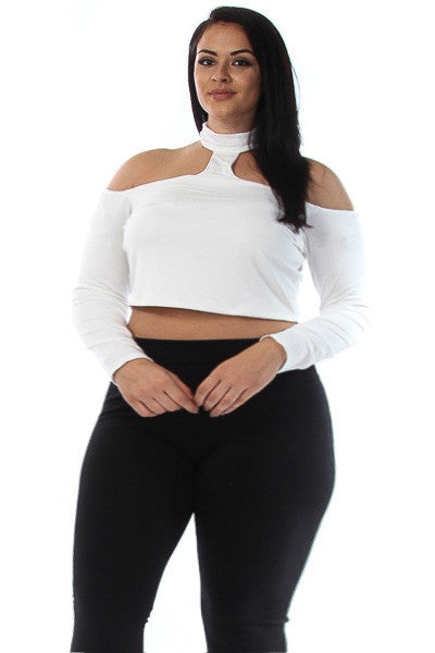 Cold Shoulder Cut Out Plus Size Crop Top