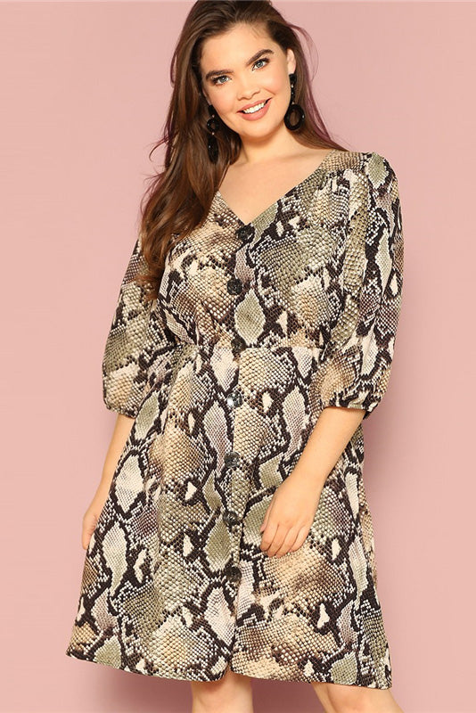 Plus Size Daring Button Front Snake Skin Pattern Dress – Plussizefix