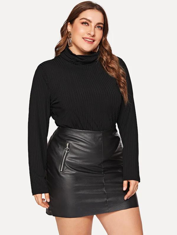 Plus Size Roll Up Neck Rib-Knit Top