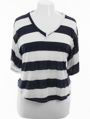 Plus Size Boyfriend V-Neck Striped Navy Top