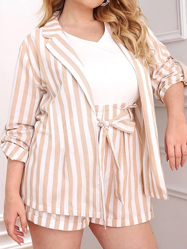 Plus Size Notch Collar Blazer And Paperbag Waist Striped Shorts Set