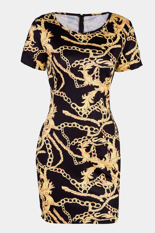 Plus Size Designer Chain Print Bodycon Shortsleeve Dress