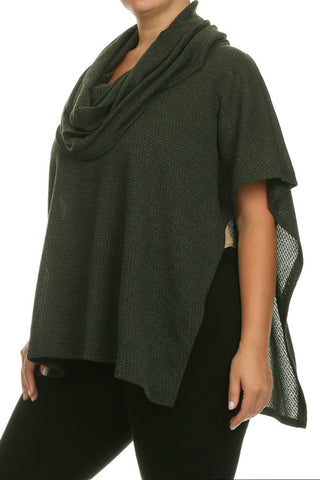 Plus Size Cowl Neck Knit Poncho