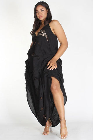 Plus Size Boho Crochet Lace Trim Draped Dress Black
