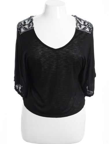Plus Size See Through Lace Black Half Tunic