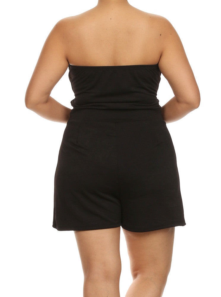 Plus Size Sweetheart Sexy Black Tube Romper