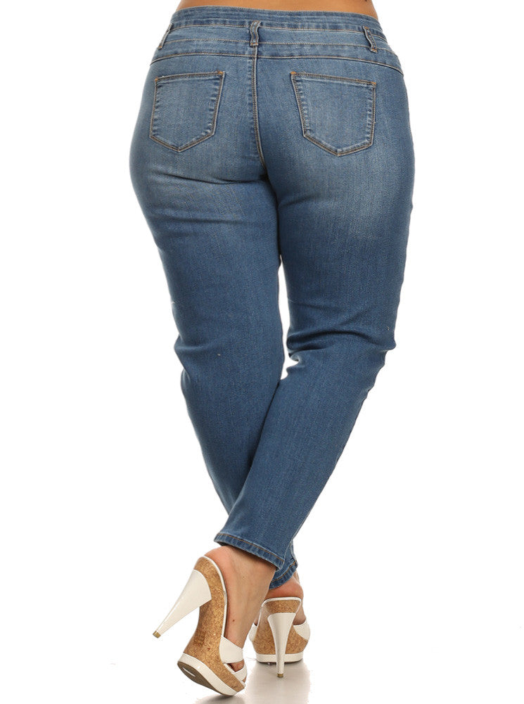 Plus Size Three Button High Waist Light Blue Jeans