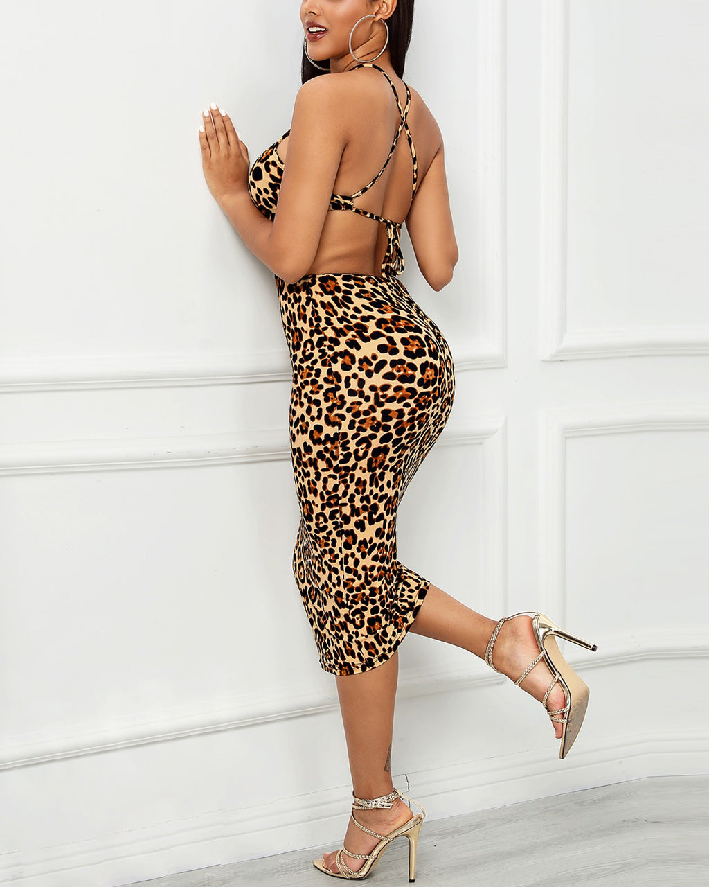 Plus Size Halter Cut Out Waist Leopard Bodycon Dress