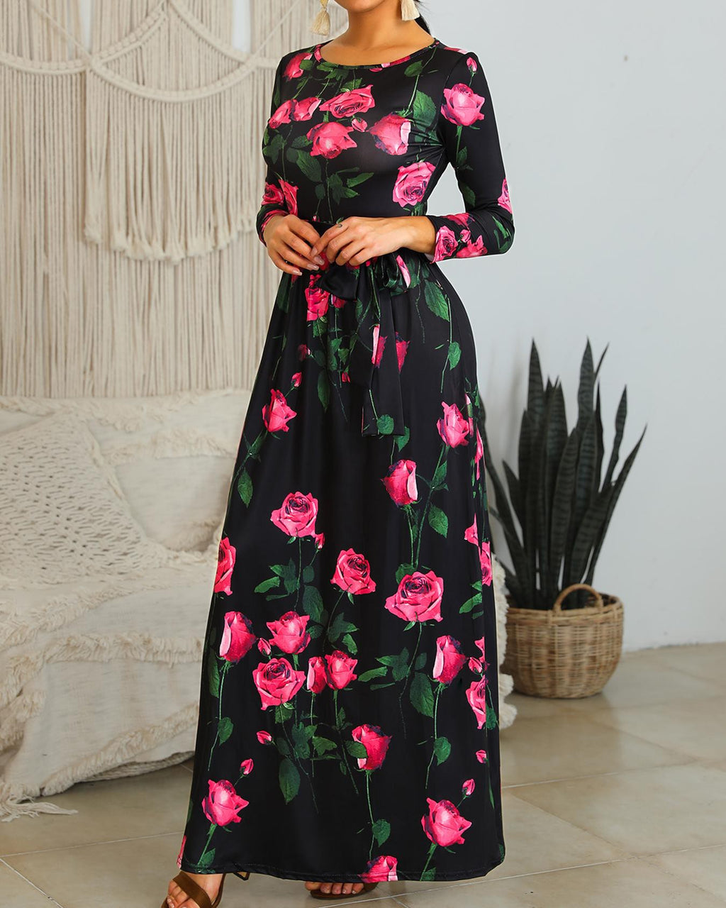 Plus Size Rose Print Belted Maxi Dress