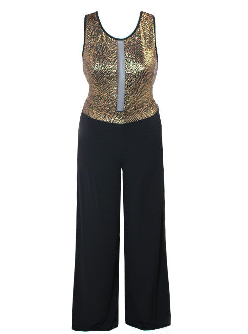 Plus Size Sparkling Sleeveless Gold Jumpsuit